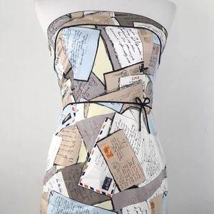 J Crew  Postcard Dress Strapless Love Letter Sz 4